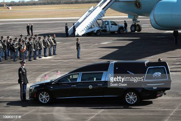 The remains of President George HW Bush arrive for a departure ceremony at Ellington Field before a flight to Washington D C on December 3 2018 in...