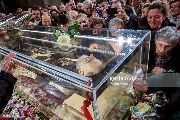 The remains of Saint Pio da Pietralcina exposed in the church of S Lorenzo fuori le mura during the Jubilee of Mercy The Saint who died in 1968 will...