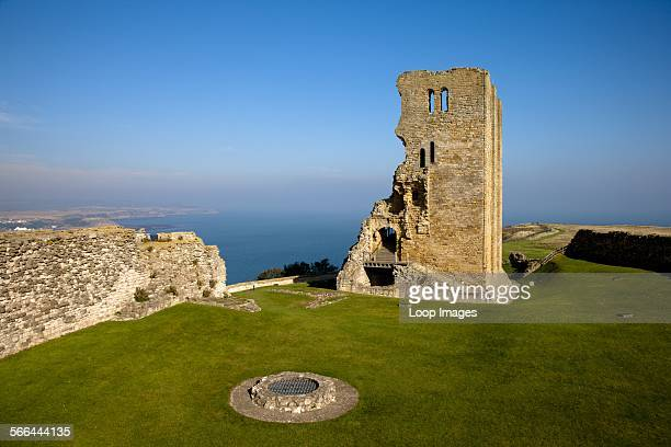 The remains of Scarborough Castle's Norman Keep high on a rocky promontory overlooking the North Sea
