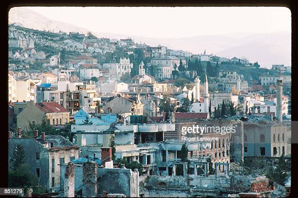 The remains of several destroyed buildings stand December 1, 1994 in Mostar, Bosnia-Herzegovina. When Bosnia declared its independence in March of...