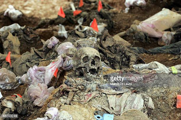 The remains of Srebrenica victims are seen at a mass grave as International Commission on Missing Persons forensic anthropologists work on an...