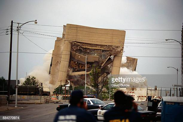 The remains of the Alfred P Murrah building are imploded making way for a new memorial park to be dedicated to those who died in the Oklahoma City...