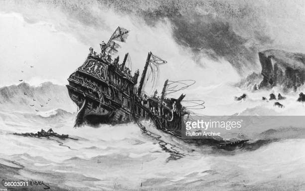 The remains of the British galleon HMS Revenge are dashed against the cliffs of Terceira in the Azores 'to be lost evermore in the main' 1591 She had...