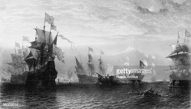 The remains of the British galleon HMS Revenge are surrendered to the Spanish after a savage battle off the Azores September 1591 She sank shortly...