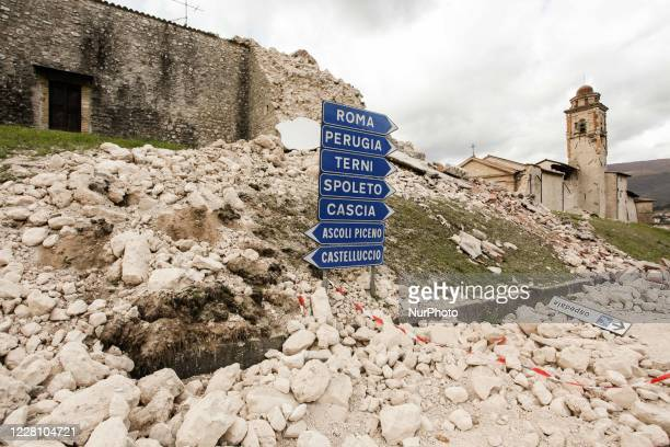 The remains of the destroyed by the violent earthquake of 30 October 2016 in Norcia, Italy, on November 1, 2016.