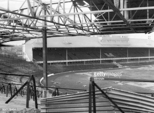 The remains of the grandstand roof at Ibrox Park after it was blown away by the high wind which hit Southern and Central Scotland in the early hours...