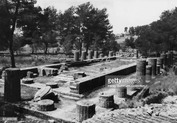 The remains of the Heraion oldest temple in Olympia Greece circa 1900
