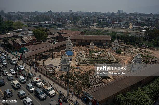 The remains of the Kalmochan Mahadev temple that was reduced to a hill of sand and bricks on April 25 2016 in Kathmandu Nepal Kalmochan Mahadev...