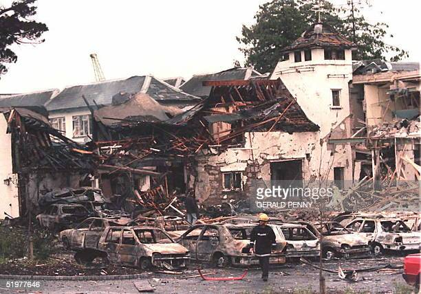 The remains of the Killyhelvin Hotel Enniskillen after a car bomb exploded the hotel 14 July It is the first bombing in Northern Ireland since the...
