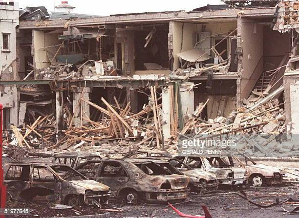 The remains of the Killyhelvin Hotel in Enniskillen stand after a car bomb exploded outside the hotel 14 July It is the first bombing in Northern...