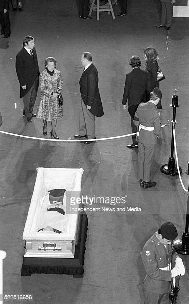The remains of the late President Eamon De Valera lying-in state in Dublin Castle. . .