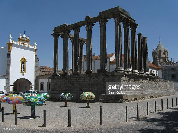 The remains of the Roman Temple stand on July 28 2008in Evora Portugal Portugal is becoming an increasingly popular tourist destination