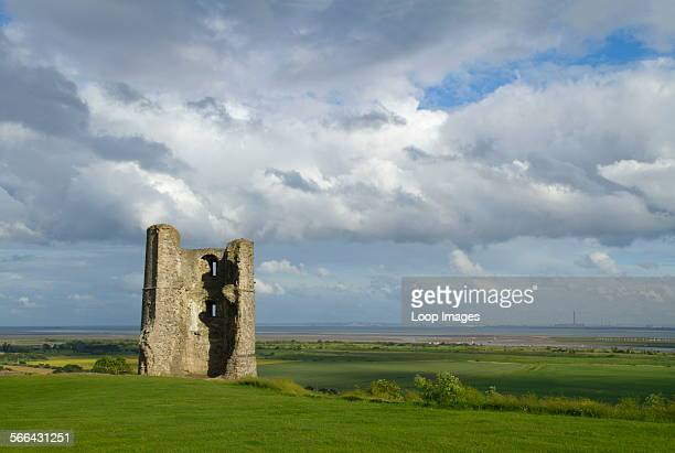 The remains of the southeast tower of Hadleigh Castle which overlooks the Essex marshes and the Thames estuary