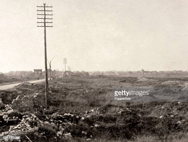 The remains of the town of Arras on the Western Front during World War One, circa 1918. The Western Front was a meandering line of fortified trenches...