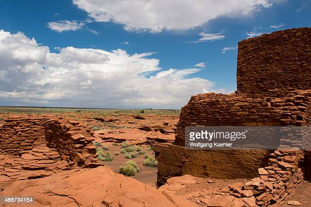The remains of the Wukoki Pueblo in the Wupatki National Monument Park in northern Arizona, USA, where the Northern Sinagua people lived.