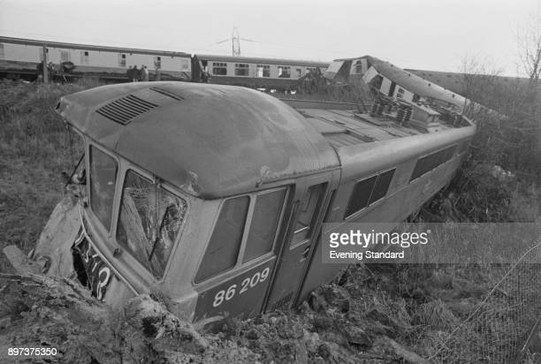 The remains of trains derailed during a crash near Watford UK 24th January 1975