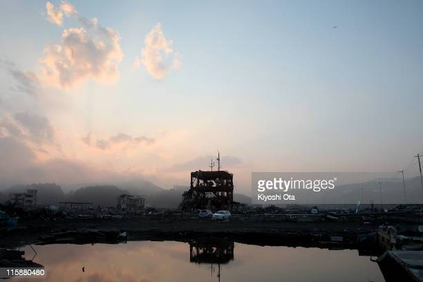 The remaning frame of the destroyed Minamisanriku City Hall Disaster Prevention Center is seen on June 11 2011 in Minamisanriku Miyagi Japan Japanese...