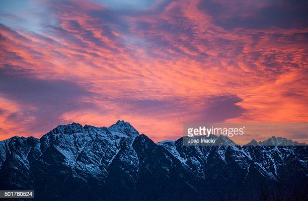 The Remarkables mountain range at sunrise, New Zealand