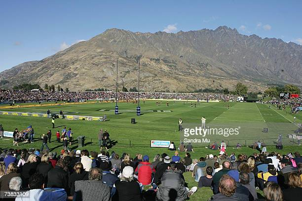 The Remarkables set the scene at the Queenstown Events Centre during the Super 14 round ten match between the Highlanders and the Chiefs at...