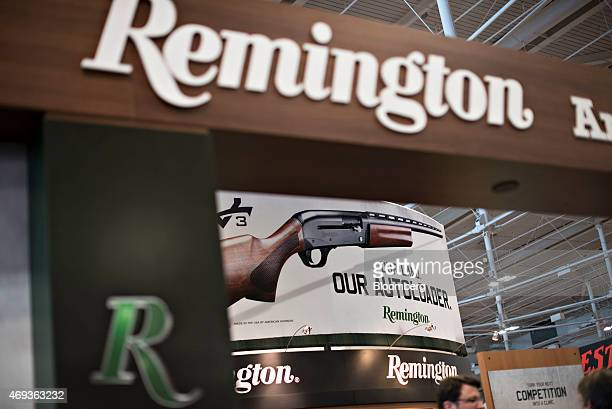 The Remington Arms Co LLC booth stands on the exhibition floor of the 144th National Rifle Association Annual Meetings and Exhibits at the Music City...