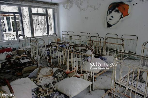 The remnants of beds are seen in an abandoned in a pre school in the deserted town of Pripyat on January 25 2006 in Chernobyl Ukraine Prypyat and the...