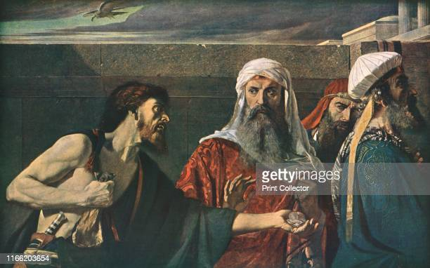 The Remorse of Judas' . Biblical scene: Judas tries to give back the thirty pieces of silver he was paid to betray Christ. Painting in the Tate...
