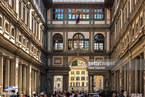 The Renaissance buildings making up the end of the plaza in front of The Uffizi Gallery