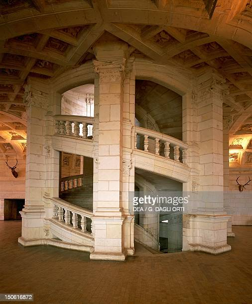 The Renaissance staircase in the centre of the Hall of the guards Chateau de Chambord Loire Valley France 16th century