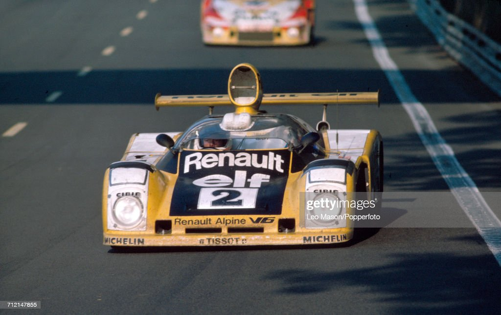 The Renault Alpine V6, driven by Jean-Pierre Jaussaud with Didier Pironi of France to a first place finish for Renault Sport during the FIA World Challenge for Endurance Drivers 24 Hours of Le Mans race on 11th June 1978 at the Circuit de la Sarthe, Le Mans, France.