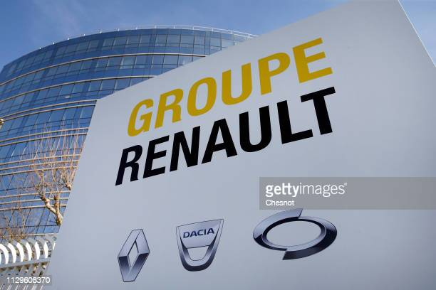 The Renault car manufacturer's logo is seen at the group's headquarters on February 14, 2019 in Boulogne-Billancourt, near Paris, France. Chief...