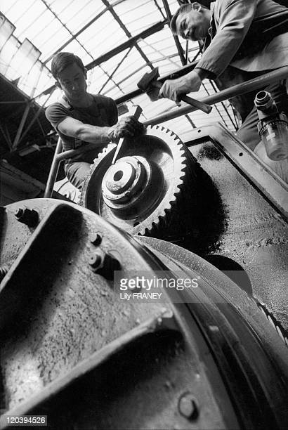 The Renault plant in Flins France Dismantling a nut on a press at the Renault factories