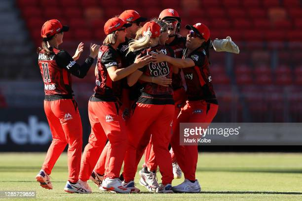 The Renegades celebrate their super over win during the Women's Big Bash League WBBL match between the Melbourne Stars and the Melbourne Renegades at...