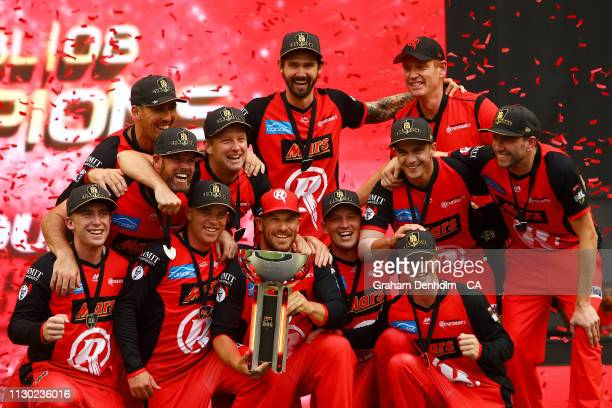 The Renegades celebrate victory in the Big Bash League Final match between the Melbourne Renegades and the Melbourne Stars at Marvel Stadium on...