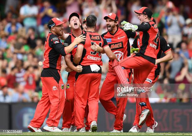 The Renegades celebrate winning the Big Bash League Final match between the Melbourne Renegades and the Melbourne Stars at Marvel Stadium on February...