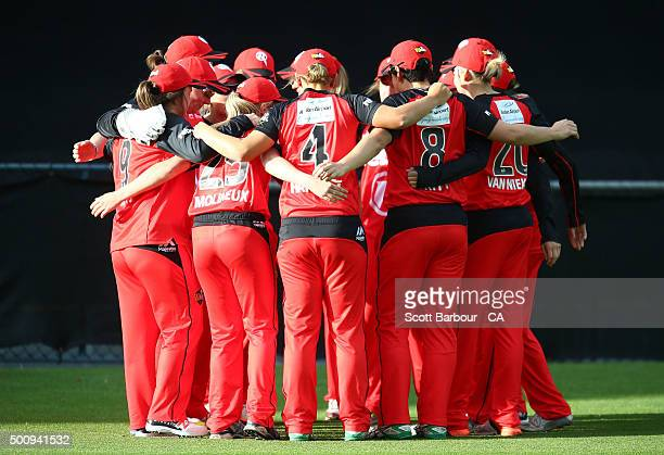 The Renegades form a huddle during the Women's Big Bash League match between the Melbourne Renegades and the Hobart Hurricanes at Aurora Stadium on...
