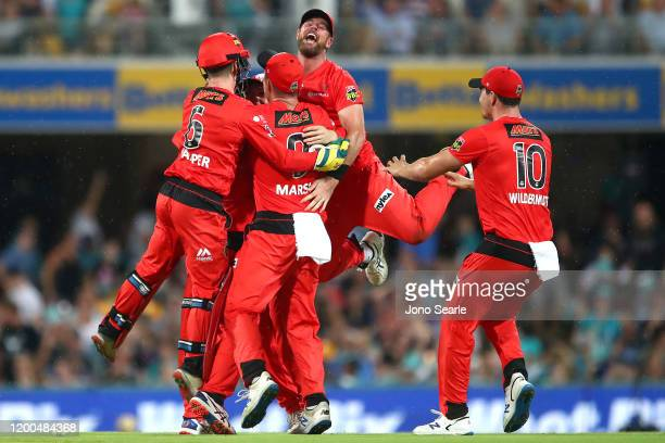 The Renegades team celebrates the win during the Big Bash League match between the Brisbane Heat and Melbourne Renegades at The Gabba on January 19,...