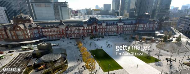 The renovated square in front of JR Tokyo Station on December 7 2017 in Tokyo Japan The 19000squaremeter area in front of the station's Marunouchi...