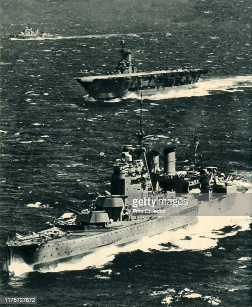"""The 'Renown', the 'Ark Royal', and the 'Sheffield', circa 1939-1941, . '""""Out To Sea and Into The Sky"""". The three famous partners of Force H - the..."""