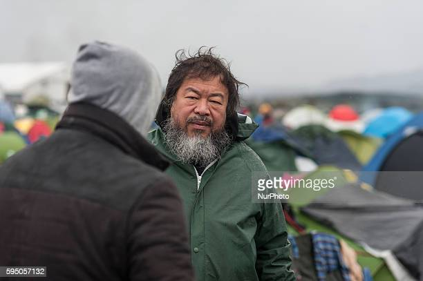 The renowned chinese artist Ai Weiwei at the refugee camp in Idonemi at the border between Greece and Macedonia on March 10 2016