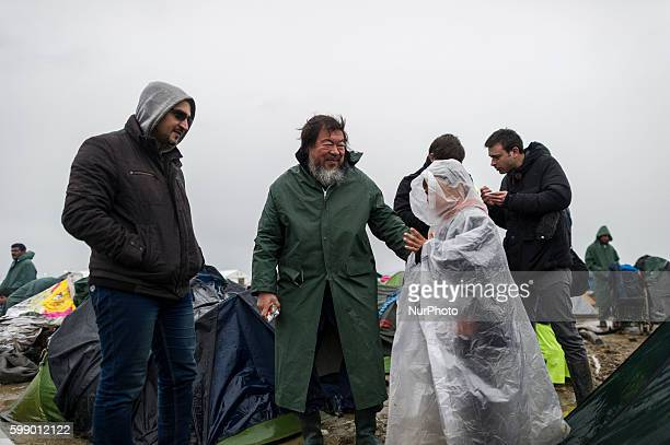 The renowned chinese artist Ai Weiwei at the refugee camp in Idonemi, at the border between Greece and Macedonia, on March 10, 2016.