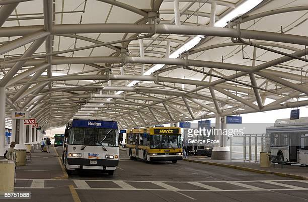 The rental car bus pickup area at Denver International Airport is seen in this 2009 Denver Colorado spring landscape photo