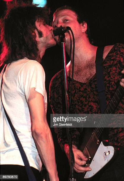The Replacements lead singer/guitarist Paul Westerberg and lead guitarist Bob Stinson perform at First Avenue Nightclub in Minneapolis Minnesota in...