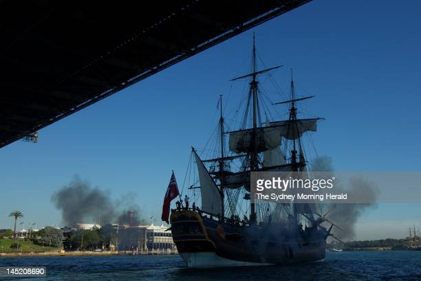 The replica of Captain Cook's ship HMS Endeavour arrives in Sydney Harbour after a 13month 13300 nautical mile circumnavigation of Australia in which...