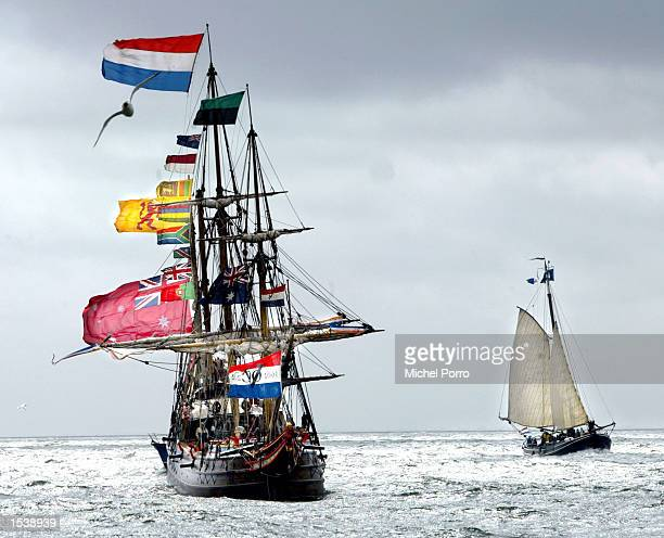 The replica of the 400yearold Dutch merchant ship the 'Duyfken' returns to the harbour of Oudeschild in Texel Netherlands April 28 after a 360day...