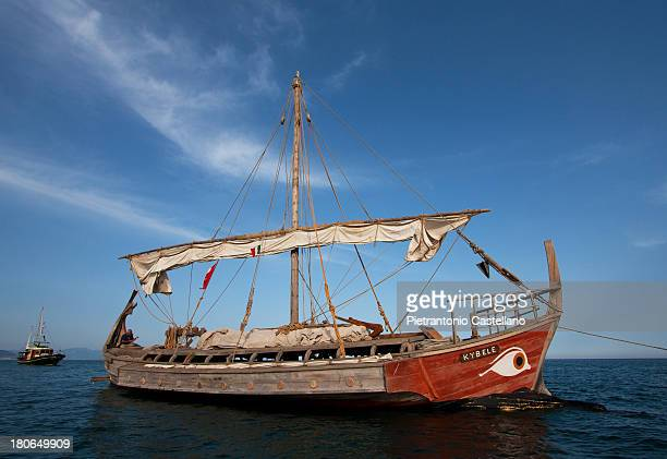 CONTENT] The replica of the 6th century BCE ship Kybele at anchor off Mount Circeo Italy during her voyage from Foça Turkey to Marseille France to...