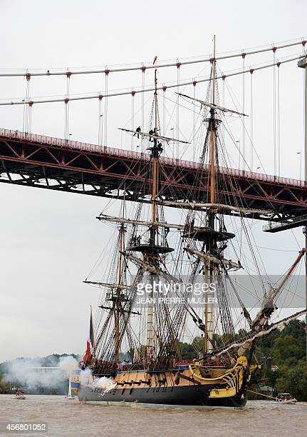 The replica of the frigate Hermione onto which La Fayette embarked in 1780 to bring help and support to the American insurgents fires a cannon as it...