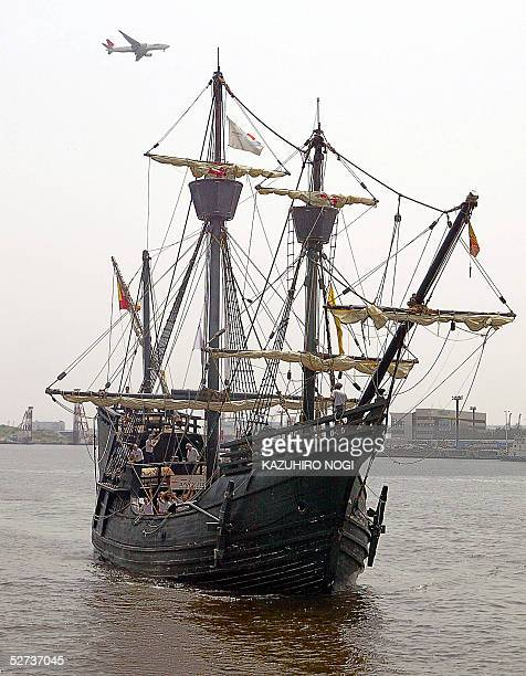 The replica of the Nao Victoria of Spain enters the port in Tokyo Bay 30 April 2005 The ship which is recreating the first voyage around the world by...