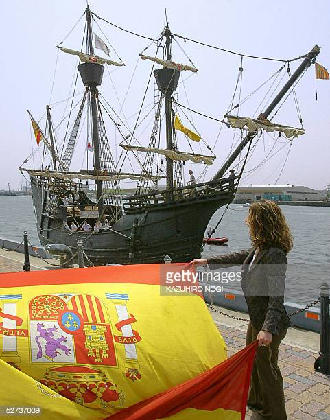 The replica of the Nao Victoria of Spain is welcomed by Spain's national flag upon arriving at the pier in Tokyo Bay 30 April 2005 The ship which is...