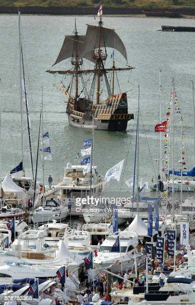 The replica of the Sir Francis Drake's Golden Hinde sails past the Southampton Boat Show in the city The yachting spectacular features 800 boats and...