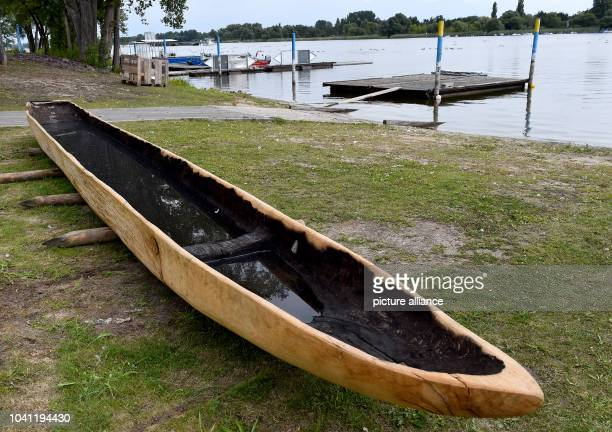 The replica of the Slavs temporal boat of Ziesar on the bank of Beetzsees in Brandenburg, Germany, 18 August 2016. On Saturday the archaeological...